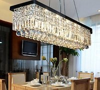 Rectangular Fashion Light Pendant Lamp Bar Art Crystal Chandelier Parlor Dining Room Restaurant Hotel Hall Indoor Lighting