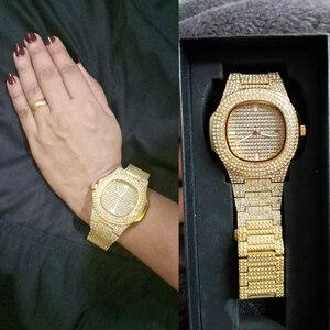 Image 3 - Dropshipping gelo para fora bling diamante relógio de luxo masculino ouro hip hop ice out relógio de quartzo relógios de aço inoxidável relogio