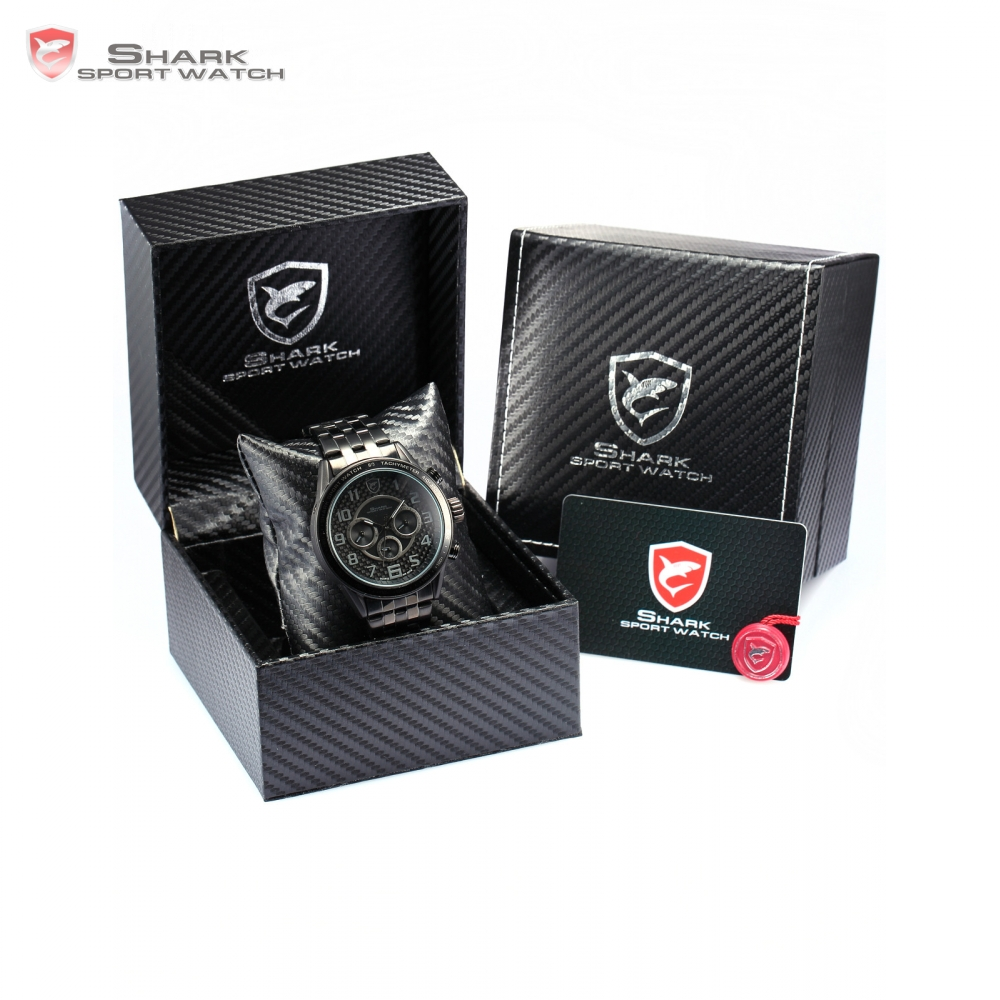 Luxury Leather Box Blackspot Shark Sport Watch Dual Time Auto Date Steel Strap Military Mens Watches Top Brand Gift / SH365-369