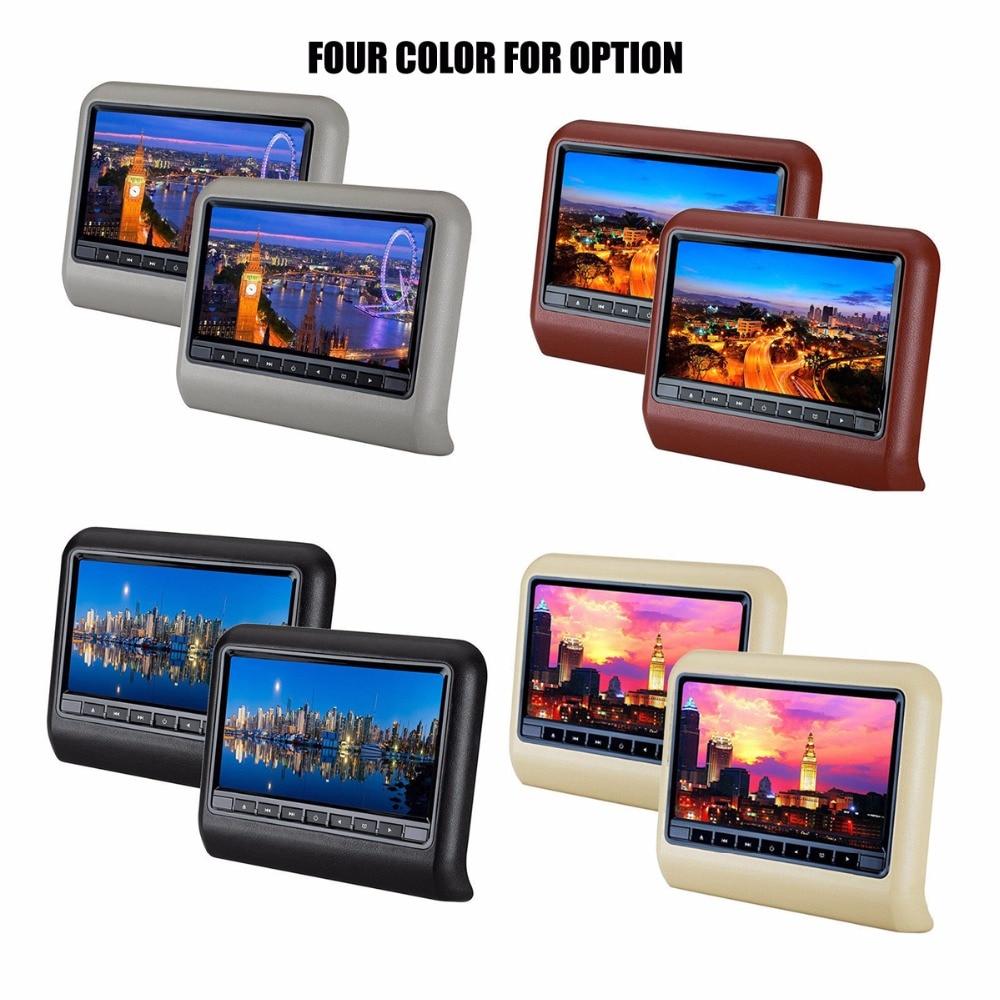 2 pièces une paire 9 pouces LCD appuie-tête lecteur DVD voiture banquette arrière oreiller moniteurs 800*480 jeux contrôleur de jeu livraison gratuite