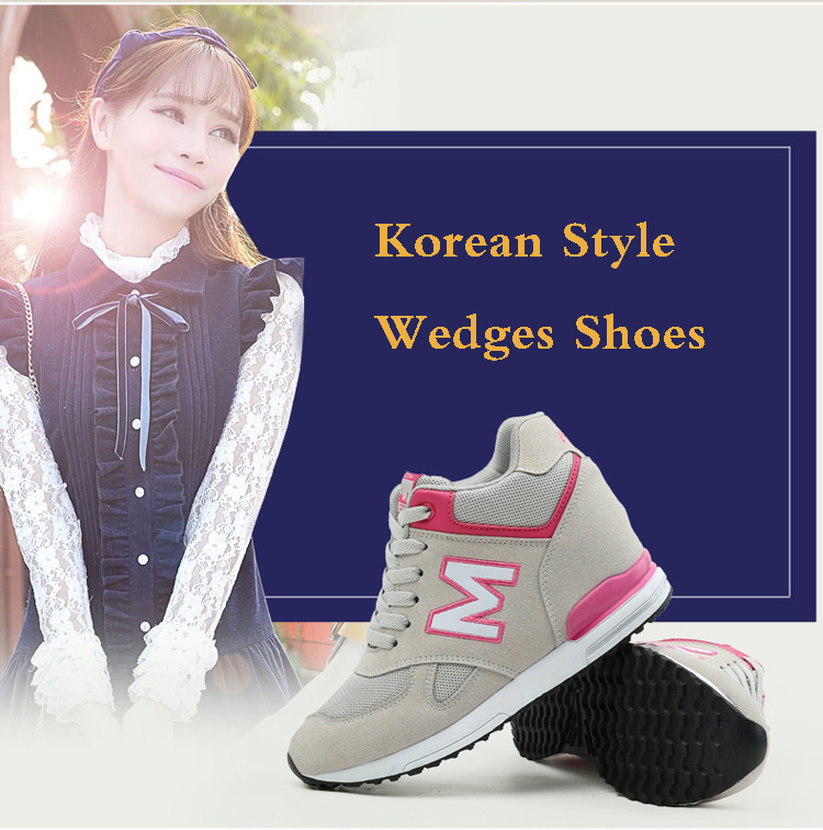 Height Increasing Wedges Shoes Woman Fashion Spring Lace Up High Top Women Casual Shoes Cow Suede Women\'s Vulcanize Shoes ZD36 (2)