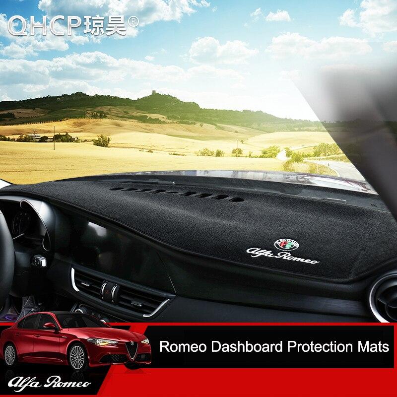 QHCP tapis de tableau de bord tapis de bord housse de tableau de bord pare-soleil housse de tableau de bord tapis de Protection pour Alfa Romeo Giulia/Stelvio - 2