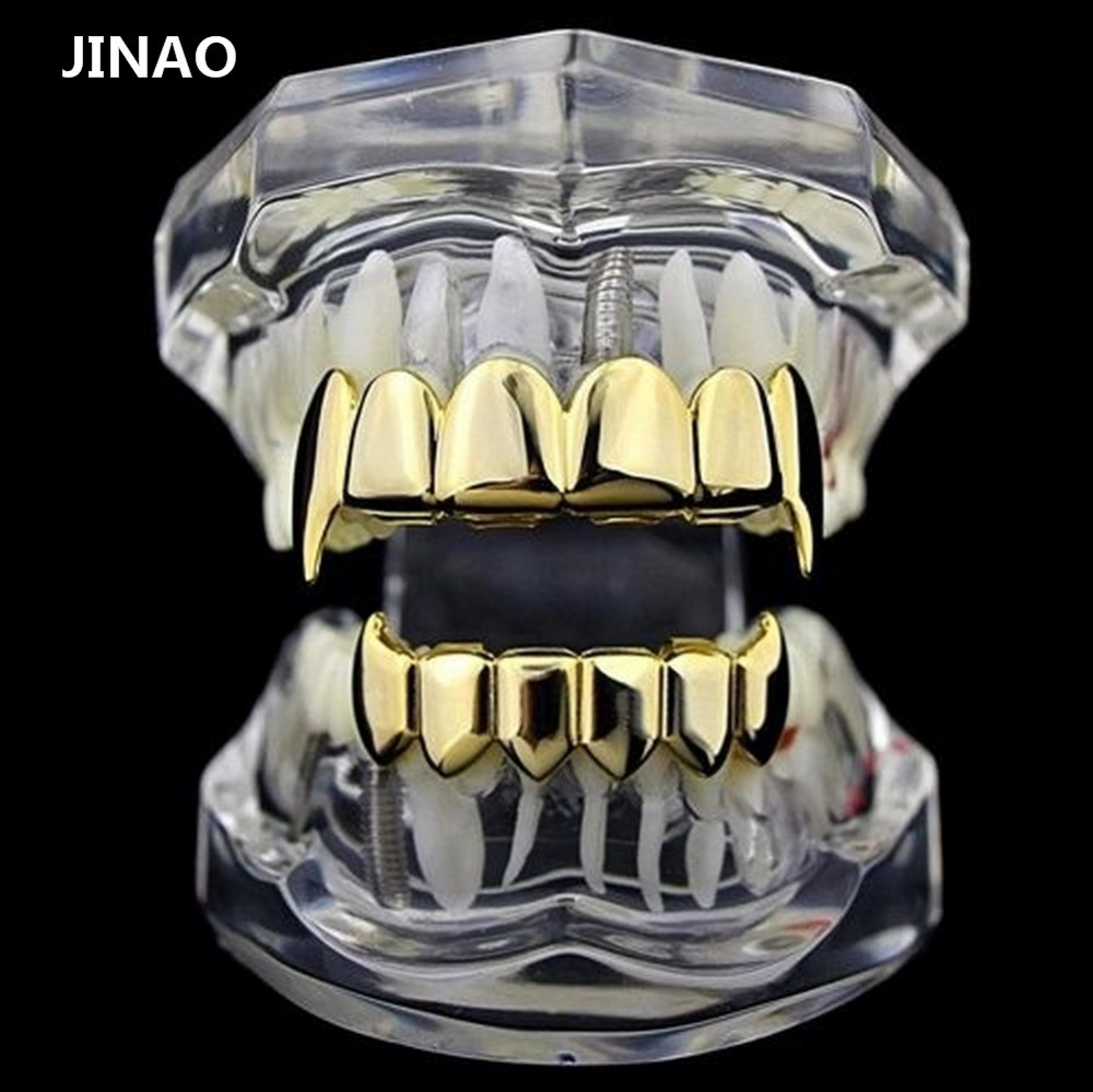 JINAO Gold Silver Plated HIP HOP Teeth Grillz Top & Bottom Grills Set With silicone Real Shiny Vampire Tooth Grill Sets