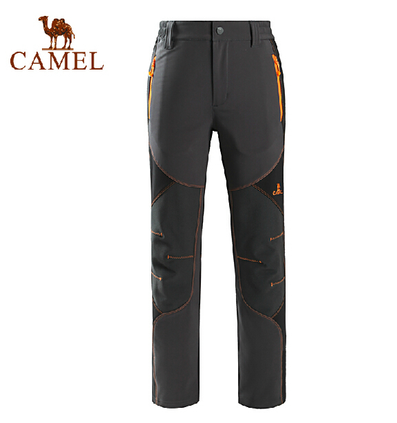 CAMEL Men's Outdoor Soft Shell Pants Fleece Man's Hiking Mountaineering Fleece Trousers Warm Breathable Pants A5W114125 rax 2015 thermal fleece hiking pants for men women winter outdoor sports warm fleece trousers fleece camping pants 54 4f089