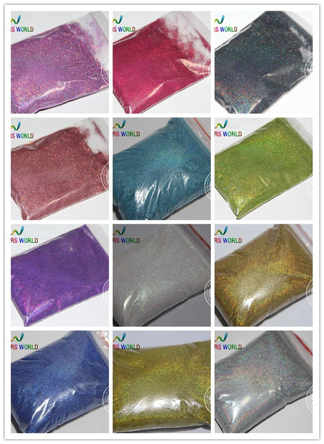 12 Mejor 0.05mm 002 tamaño Color holográfico Tamaño más pequeño Polvo Del Brillo para el clavo, tatto arte polvo de la decoración DIY
