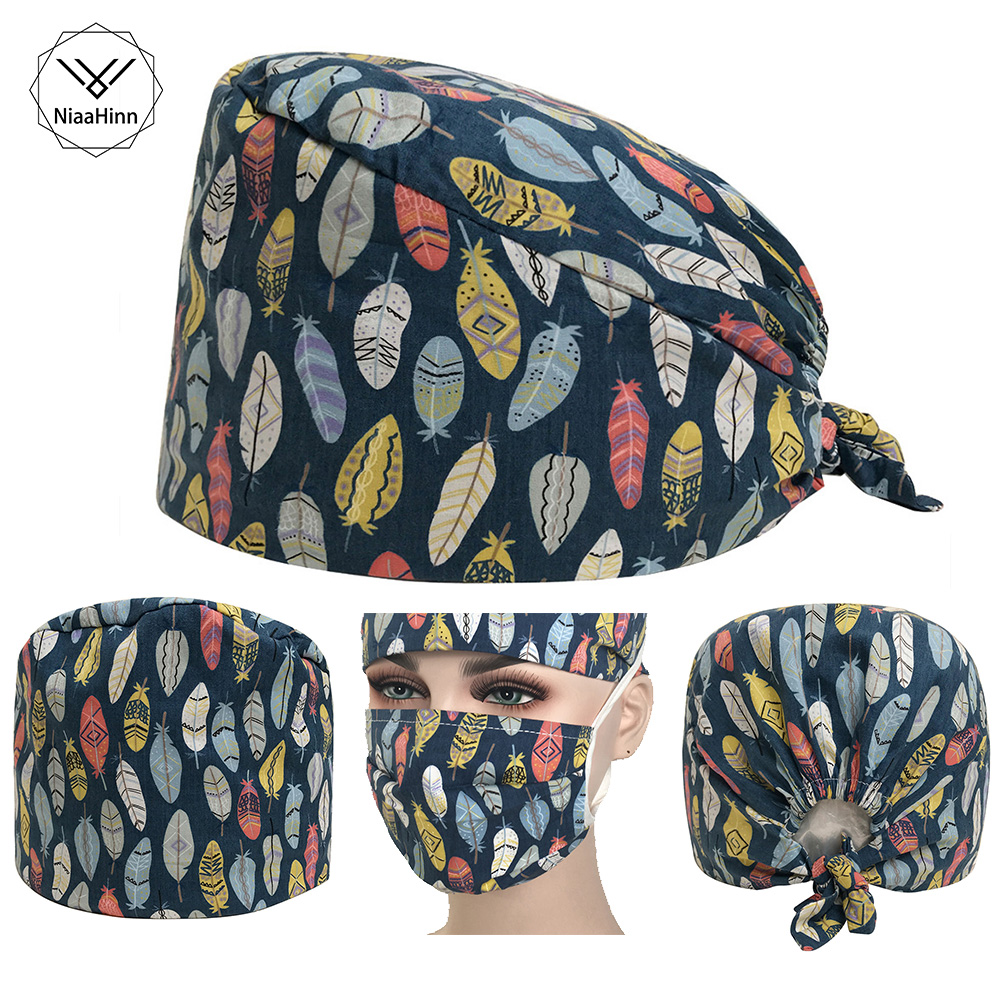 New Colorful Leaf Print Surgical Caps Cotton Adjustable Unisex Surgical Cap Doctor Nurse Hat Midwife Beauty Hat With Sweat Towel