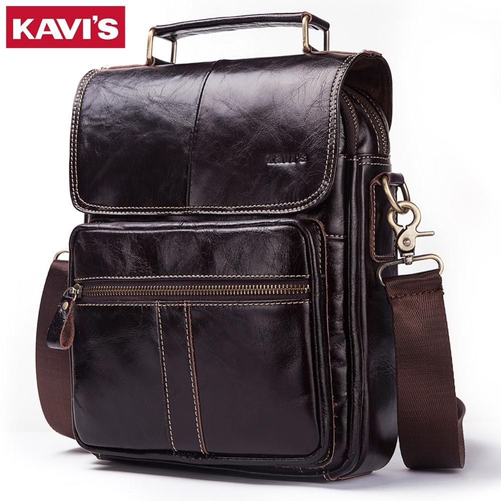 KAVIS 100% Genuine Leather Men Shoulder Bag High Quality Crossbody Bags For Male Messenger Bag 9.7