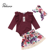 2018 Brand New 0-24M Newborn Infant Baby Girls Clothes Sets 3PCS Ruffles Solid Long Sleeve Romper Tops Floral Skirts+Headband(China)