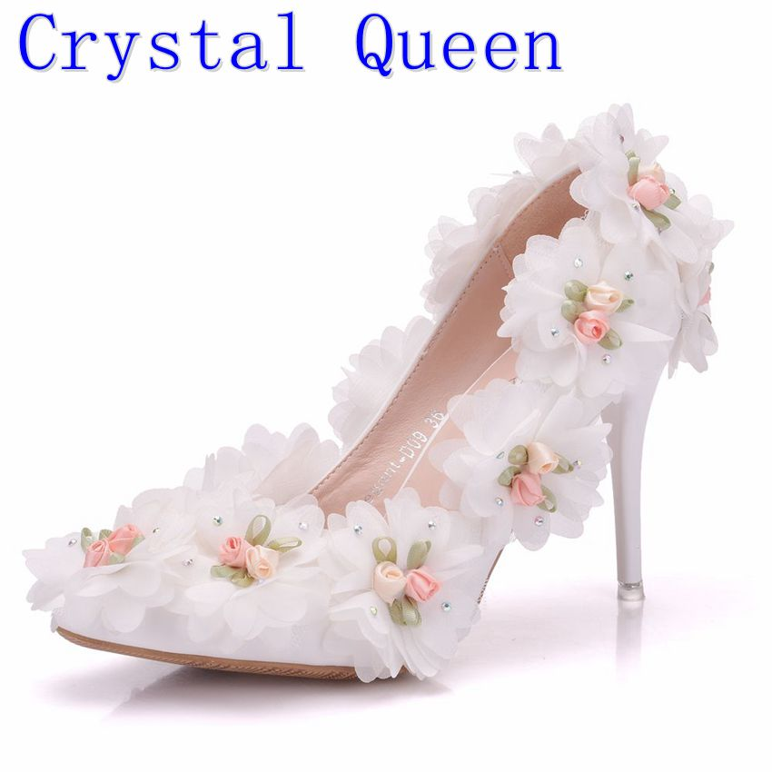 Crystal Queen Women White Lace Flower Wedding Shoes Pointed Toe Formal Dress Shoes Bride Banquet Party Shoes Pumps High Heels