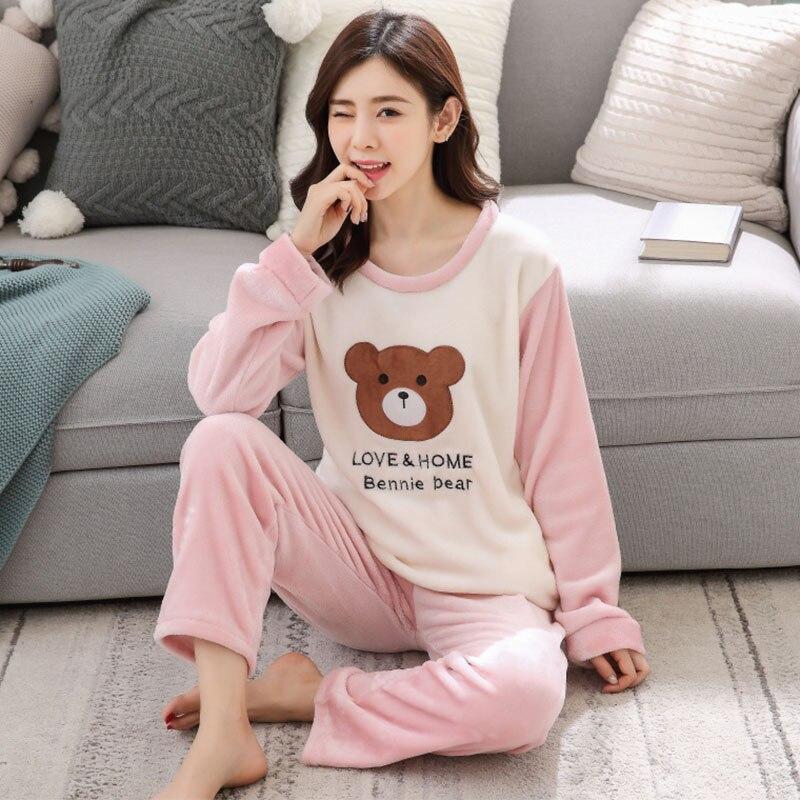 fashion Winter Women Pajamas Warm Flannel Cartoon Leisure Home Clothes Women Pajamas Set Coral fleece stripe Girl Sleepwear suit 62