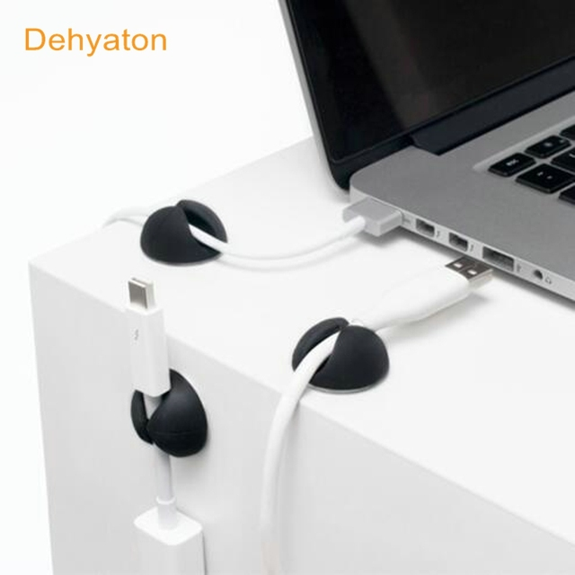 Dehyaton Cable Winder Earphone Cable Organizer Desktop Wire Storage Charger Cable Cord Holder Clips For Phone Charging USB Cable