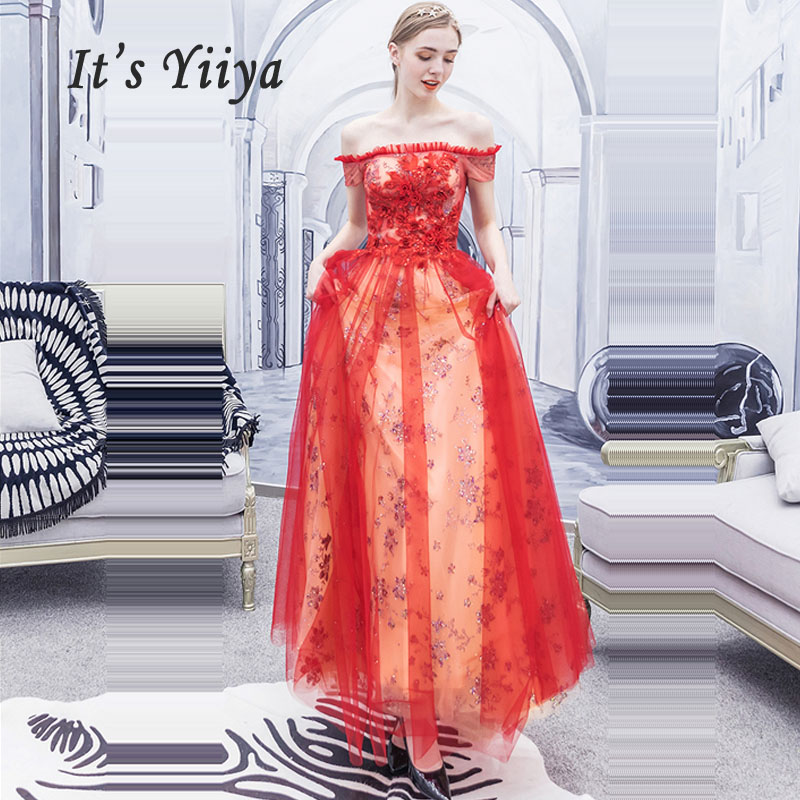 It's Yiiya Evening Dresses Red Boat Neck Robe De Soiree Elegant Women Party Dress 2019 Plus Size Short Sleeve Evening Gowns E627