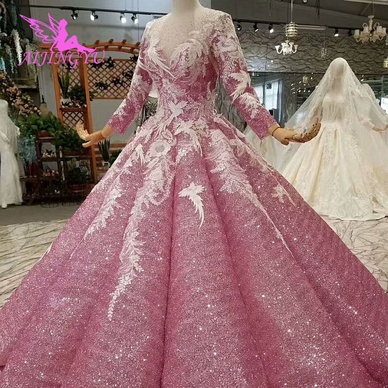 AIJINGYU Trouwjurken Dubai Mouw Jassen Bolero Luxe Ivoor Lange Boho Lace Voor Koop Sexy Gown 2019 Bruiloft Decoraties