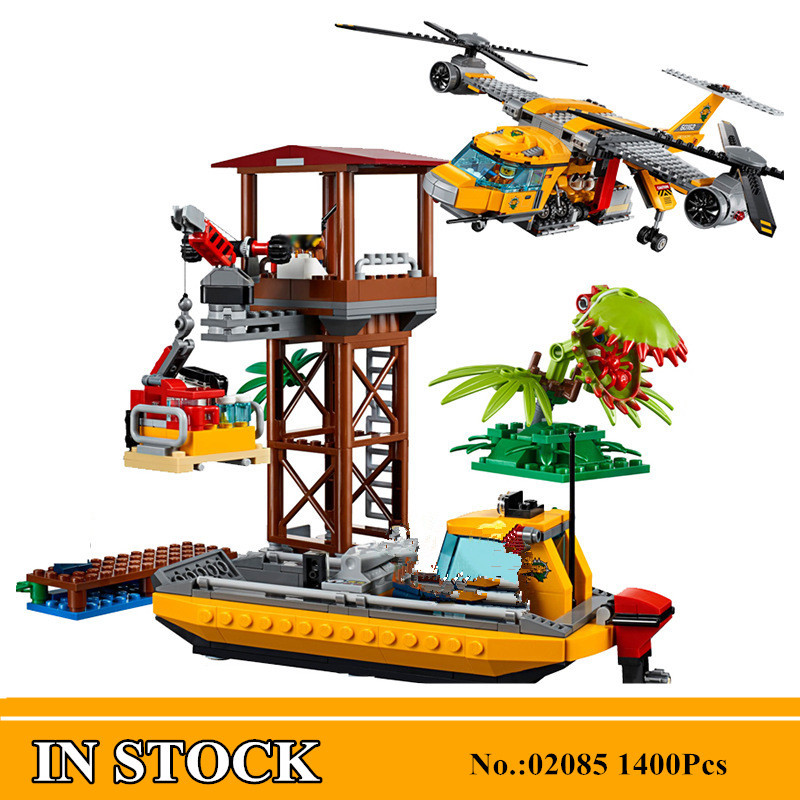 H&HXY 02085 1400Pcs Genuine City Series The Jungle Air Drop Helicopter Set 60162 Building Blocks Bricks Christmas New Year Gifts 1400pcs genuine city series the jungle air drop helicopter set compatible lepins building blocks bricks boys girls gifts
