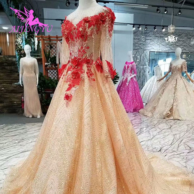 AIJINGYU Long Sleeve Bridal Dresses Pre Gowns Popular Turkey Sexy Shiny Custom Simple Gown With Sleeves Muslim Wedding Dress