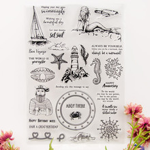 Mermaid Seaside Boat Captain Transparent Clear Stamps Silicone Seal for DIY Scrapbooking Card Making Photo Album Decor Crafts