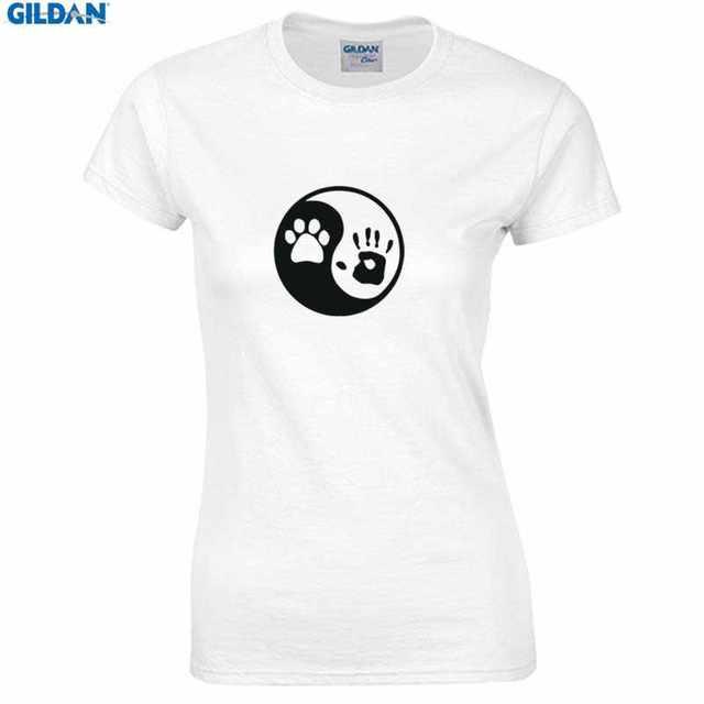 17b15750c women t shirt slim fit printed new design paw hand yin yang dog animal  rescue Print womens t-shirt womens O-Neck tshirt brand