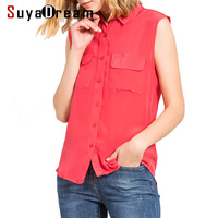 Women Silk Blouse 100 REAL Silk Blouse Two Pockets Solid Button Shirt Off Shoulder Summer Blouses