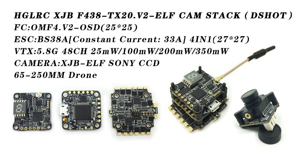 HGLRC XJB F438-TX20.V2-ELF DSHOT Flight Controller Fly Tower BS38A VTX for Quadcopter Frame Racing Drone hglrc xjb f438 tx20 v2 elf 600tvl 1 3 ccd camera