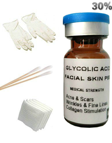 GLYCOLIC ACID PEEL 30% Chemical Peel Fade Acne, Scars, Age Spots, Wrinkles, Fine Lines, Freckles Free Shipping