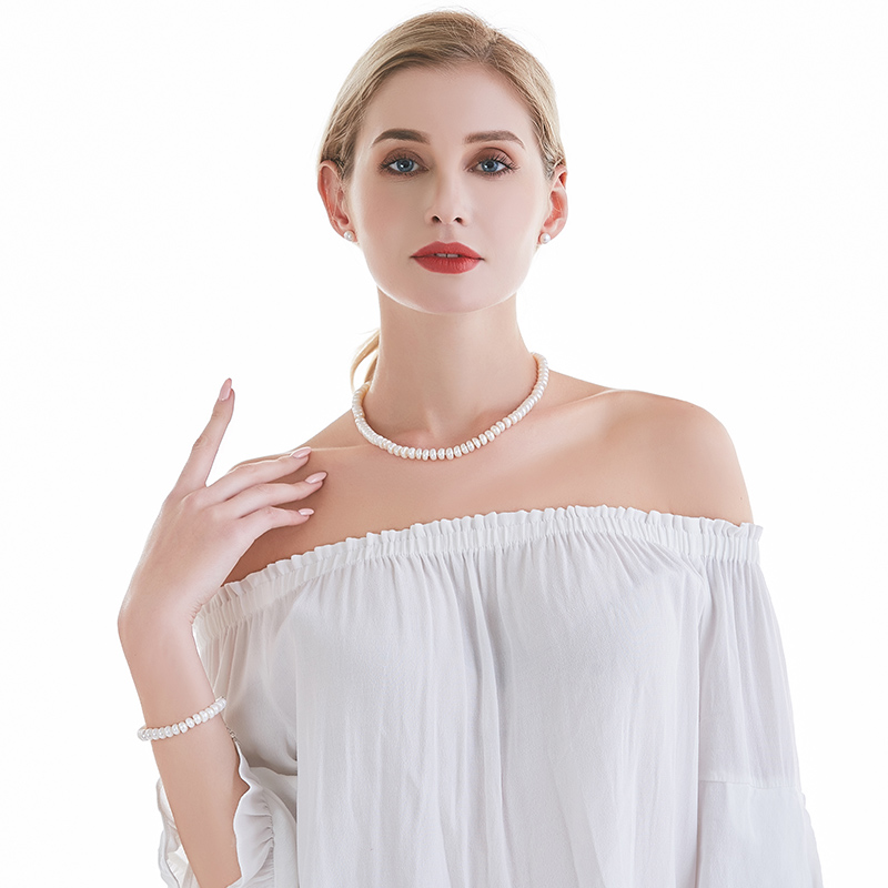 Огрлица од белог природног - Модни накит - Фотографија 2