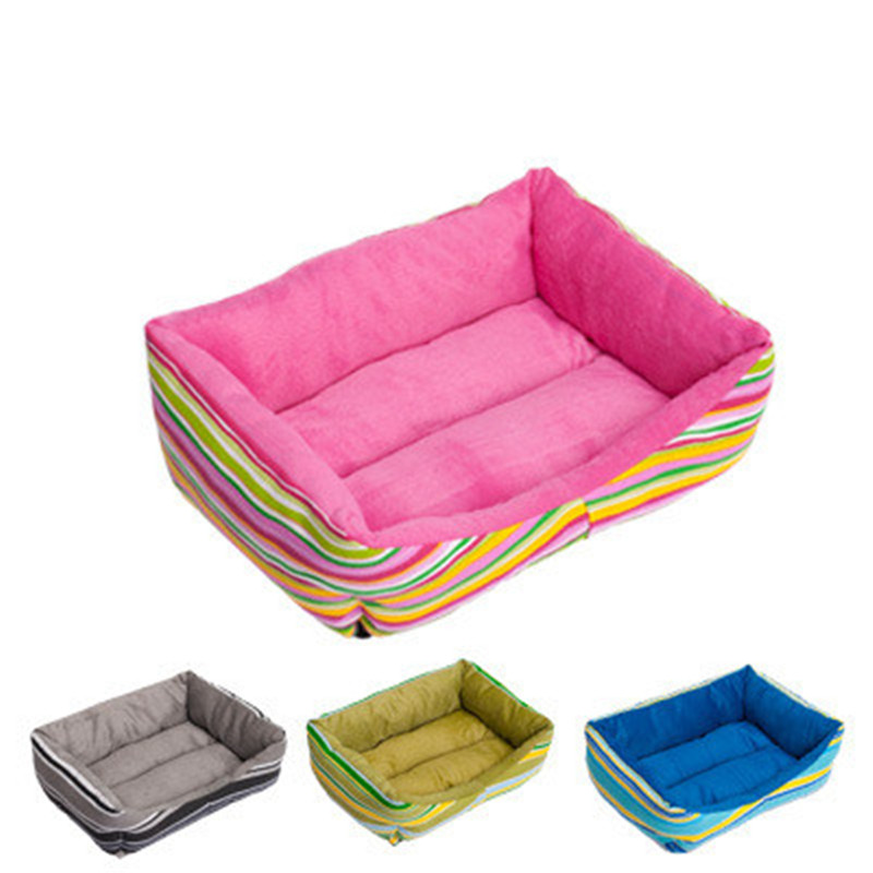Fashion Rainbow Stripe Pet Dog Bed House Soft Durable Dogs