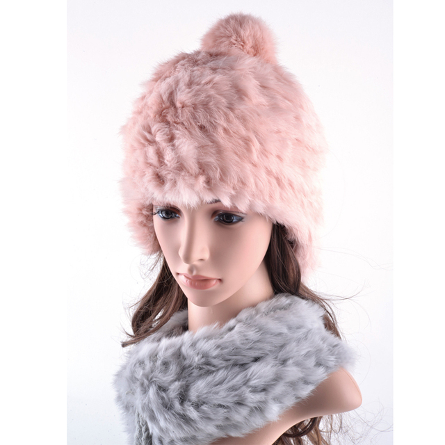 100% Real rabbit fur bomber hat leather hair winter hats for women russian cap earflaps outdoor trapper caps protect Earmuffs