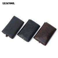 Leacool متعدد الوظائف 100% حقيقية جلد البقر مفتاح السيارة المحفظة محافظ بطاقة حامل حقيبة عملة محفظة مدبرة منظم