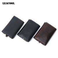 Leacool Vintage Genuine Leather Key Wallet Cowhide Men Women Car Card Holder Bag MultiFunction Coin Purse