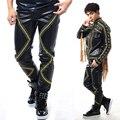 Novo estilo de moda masculina fino rebite calças de couro calças dançarino cantor performance de palco