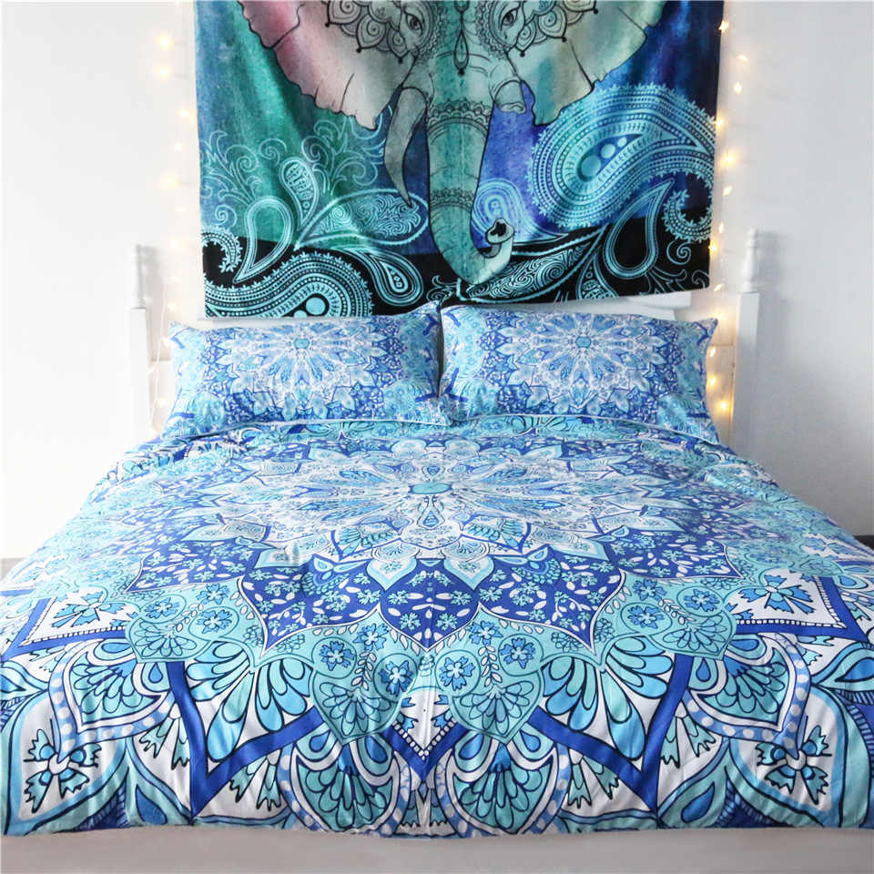 Blue Mandala Printed Bedding Set Polyester Adult Duvet Cover with Pillowcase 3 pcs Nordic Beds Single Twin Double 80025
