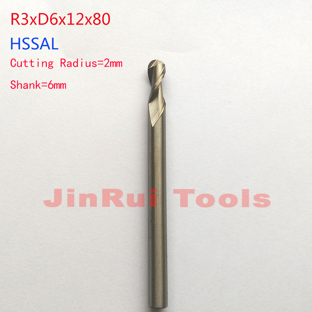 1 pc  6mm Radius 3mm 2 Flutes R3*D6*12*80 HSSAL Ball nose  End Mills Spiral Bit Milling cutter knife Tools CNC Router bits
