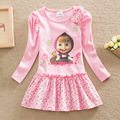 2016 children dress for girls Masha and Bear Cotton O-neck Pink Costume Dresses Printed Cute Long Sleeve Clothing for girls 2-7T