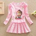 2016 vestido de los niños para las muchachas Masha y Oso Del Algodón Del O-cuello Traje rosa Vestidos Lindos Impresos de Manga Larga De Ropa para niñas 2-7 T