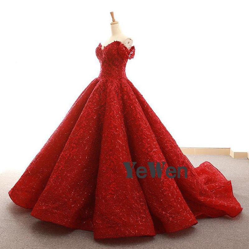977de3c4dda High end Vintage Burgundy Lace short Sleeve Formal Evening Dresses 2018  Deep V Neck off the shoulder Puffy Prom Dress Ball Gown-in Evening Dresses  ...