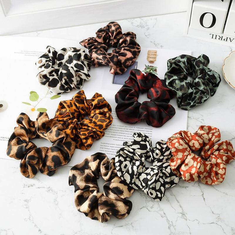 2019 Women Scrunchie Leopard  Hair Ties for Women Hair Accessories Girls Elastic Hair Bands Ponytail Hair Holder Rope Headwear