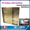 0.96 м x 0.96 м из светодиодов витрины p5 золотой алюминиевого из светодиодов экран доска прокат в помещении из светодиодов видеостены подвижный рекламный щит