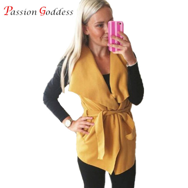 New 2016 Autumn Plus Size Women Fashion Vest Coat Big Turn Down Collar Sleeveless Sashes Open Stitch Wool Vest Jacket Waistcoat