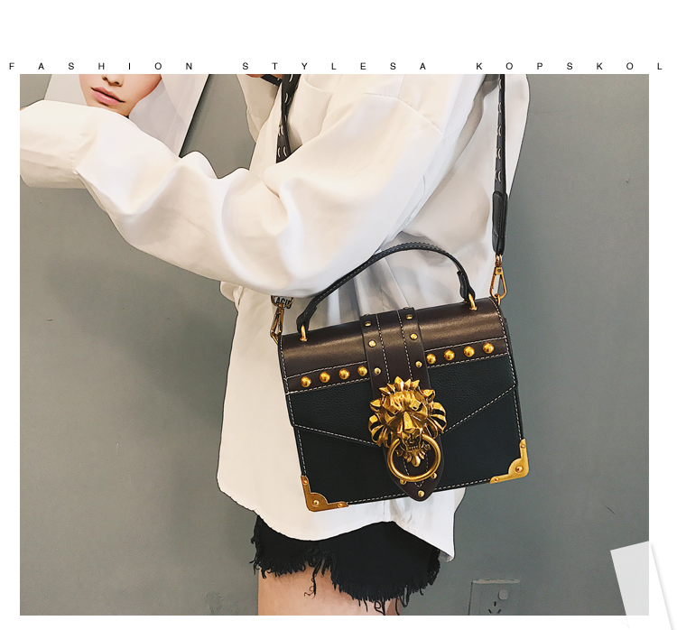BLACK Lion Head Lock Shoulder Bags Female Handbag Women PU Leather Crossbody Bag