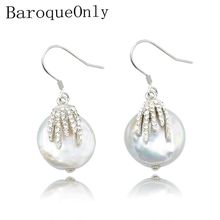 BaroqueOnly natural freshwater pearl jewelry irregular baroque earrings for women gifts 925 sterling silver trendy