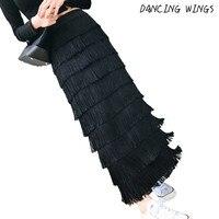 Autumn And Winter Sweet Women Skirts High Waist Personality Fringe Tassel Skirt All Match Long Skirts Jupe femme