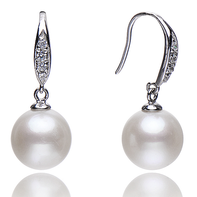 FEIGE High Quality 925 Sterling Silver Natural Pearl Drop Earrings For Women's 10-11mm White Natural Freshwater Pearl Jewelry
