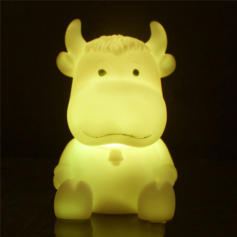 High quality and Brand new night lights colorful changing cow shape led night lamp for bedroom decoration baby gift cool lamp