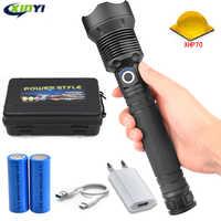 60000LMs Leistungsstarke LED Taschenlampe XHP70 Wiederaufladbare USB Zoom Taschenlampe XHP70.2 18650 26650 Selbstverteidigung Jagd Lampe