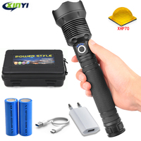 60000LMs Powerful LED Flashlight XHP70 Rechargeable USB Zoom Torch XHP70.2 18650 26650 Self Defense Hunting Lamp