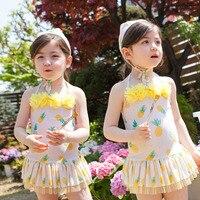 Sevimli Bebek Mayo 2016 Marka Yeni Nokta Dantel Çocuk Mayo Yaz Plaj Elbise Tek Parça Mayo FCSW155