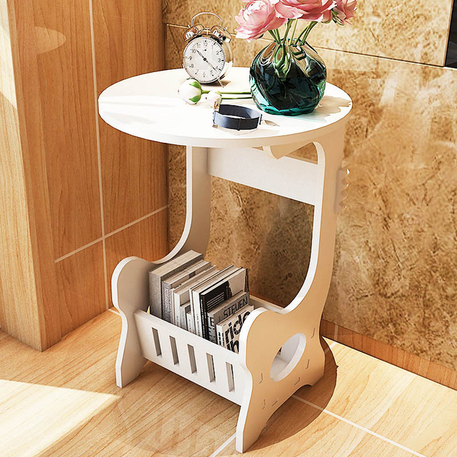 White WPC Board Coffee Table Minimalist Living Room Floor Standing  Telephone Stand Sofa Side Table