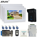 JERUAN 7 ''Цветной Видеодомофон Телефон Двери Система + 3 белые мониторы + RFID Водонепроницаемый Сенсорный клавиша Камеры + Пульт Дистанционного + Электрический замок