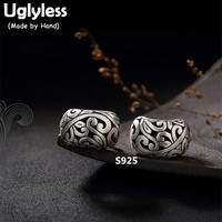 Uglyless S 925 Sterling Silver Women Handmade Fine Jewelry Vintage Engraved Hollow Patterns Studs Earrings Exotic Brincos Bijoux