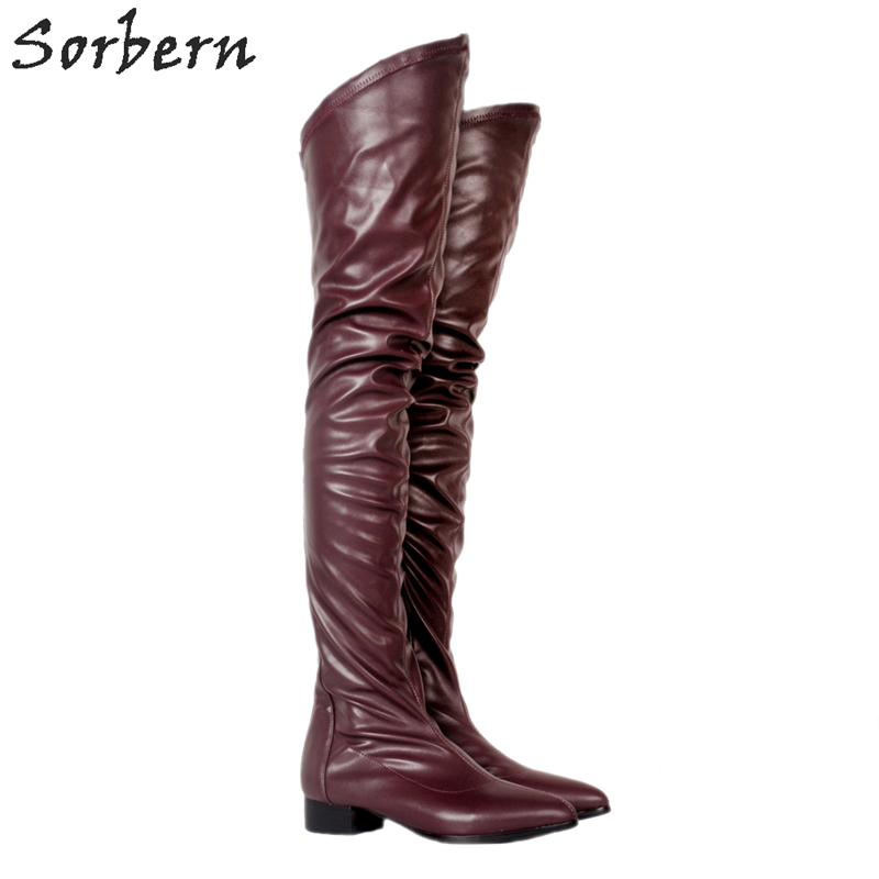 Sorbern Wine Red Zapatos De Mujer Europeos Flat Heels Over The Knee Boots Round Toe Womens Shoes Size 10 Booties Womens Shoes